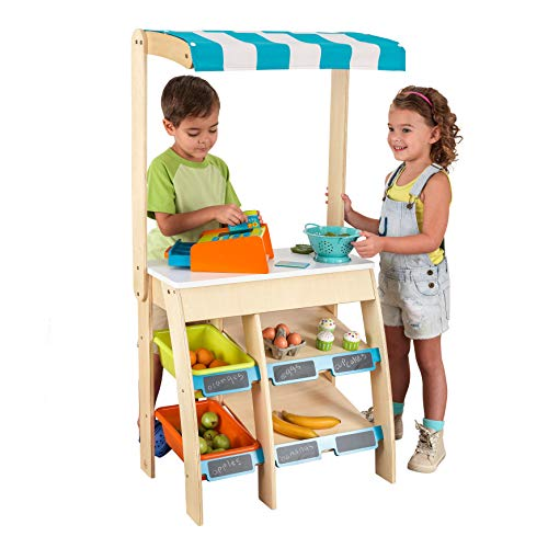 KidKraft 53017 Wooden Pretend Play Grocery Store Marketplace and Lemonade Stand for Kids, playset includes accessoires from KidKraft