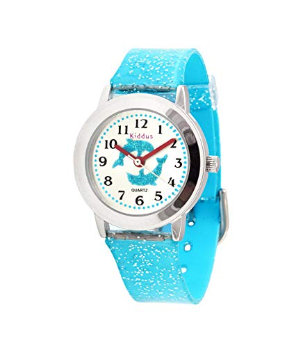 Children's Educational Watch Girl's and Boy's, with Exercises, Water Resistant (3ATM), in Gift Box, Japanese Quality Mechanism, Long Lasting Battery, Kiddus (Dolphins, FAB10) from Kiddus