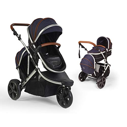 Jogger Fitty Double Tandem Travel System Pushchair with changing bag, footmuff and tan leatherette handles (Navy Tan) from Kids Kargo