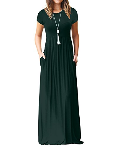 Kidsform Women's Casual Short Sleeve Maxi Dress Loose Long Dresses with Pockets A-green Size Small from Kidsform