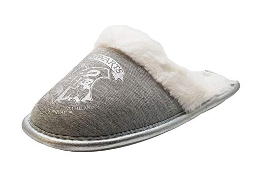 6bc3a176bcb Harry Potter Hogwarts Silver Grey Mule Slippers - with Warm Lining (Girls)  (10
