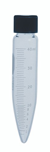 Kimble 45200-40 Glass Conical Bottom 40mL Heavy-Duty Graduated Centrifuge Tube with Screw Cap, Clear (Case of 12) from Kimble