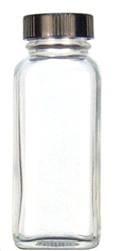 Kimble 5610228C-25 Glass French Square Bottle with Cap, Taperseal Liner, Clear, 60ml Capacity (Case of 240) from Kimble