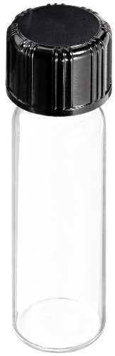 Kimble 60812B-6 Borosilicate Glass Clear Screw Thread Sample Vial with Unattached PTFE-Faced White Rubber Lined Closures, 6 Drams Capacity, 20-400 GPI Thread Finish (Case of 200) from Kimble