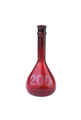 Kimble Raysorb Borosilicate Glass Class A Heavy Duty Wide Mouth Volumetric Flasks without Stopper, +/- 0.20ml Tolerance, 200mL Capacity (Case of 6) from Kimble