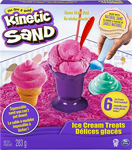 Kinetic Sand Toy Ice Cream Treats Playset - Includes 6 Tools and 283 Grams of Squeezable Pink Treats from Kinetic Sand