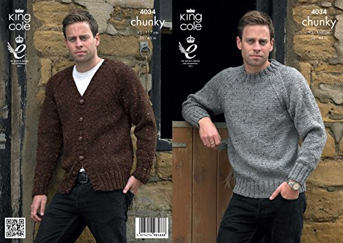 King Cole 4034 Knitting Pattern Mens Sweater and Cardigan in King Cole Chunky Tweed from King Cole