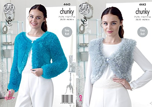 King Cole 4443 Knitting Pattern Ladies V and Round Neck Boleros to knit in Tinsel Chunky from King Cole