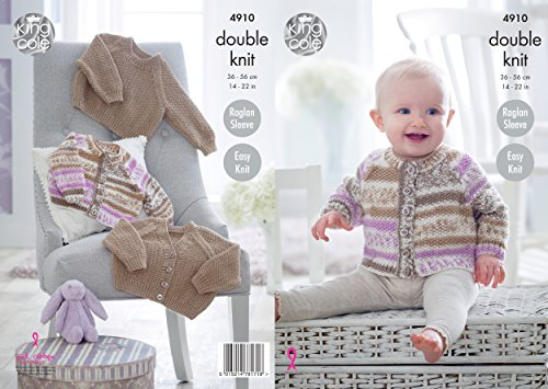 King Cole 4910 Knitting Pattern Baby Easy Knit Raglan Cardigans & Sweater in Cherish & Cherished DK from King Cole