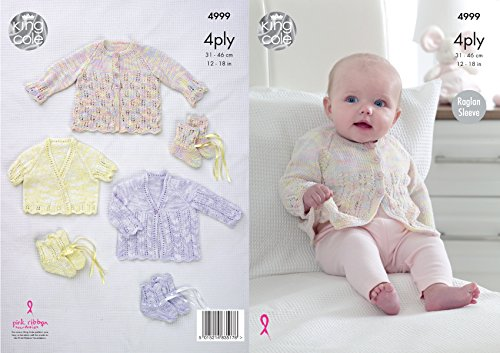 King Cole 4999 Knitting Pattern Baby Raglan Cardigans & Bootees in Giza Cotton Sorbet 4 Ply from King Cole