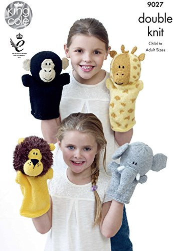 King Cole 9027 Knitting Pattern Leaflet Animal Hand Puppets to knit in Pricewise and Moments DK from King Cole