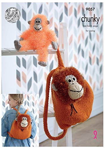 King Cole 9057 Knitting Pattern Orangutan Backpack & Toy in Tinsel Chunky from King Cole