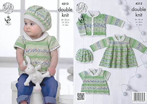 King Cole Double Knitting Pattern Lace Effect Top Dress Cardigan & Beret Set Baby Drifter DK (4312) from King Cole