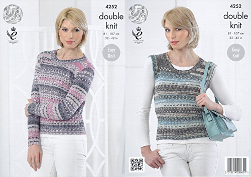 King Cole Ladies Double Knitting Pattern Womens Ribbed Detail Sweater & Pullover Drifter DK (4252) by King Cole from King Cole