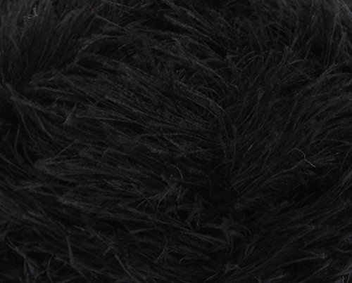 King Cole Moments Eyelash Knitting Yarn 50g Ball Feather Style Fashion Yarn (Black - 474) from King Cole