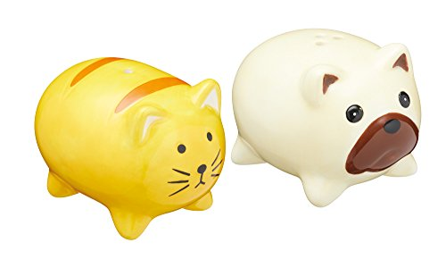 KitchenCraft Ceramic Dog and Cat-Shaped Novelty Salt and Pepper Shakers - Yellow / Beige (2-Piece Set) from KitchenCraft