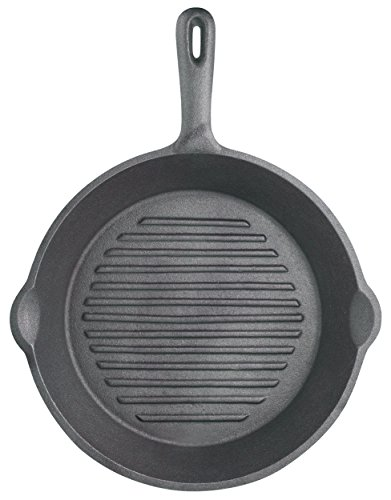 "KitchenCraft Ribbed Round Induction-Safe Cast Iron Griddle Pan, 24 cm (9.5"") from KitchenCraft"