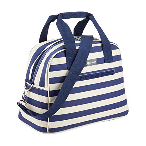 KitchenCraft The Great Outdoors 11.5L Cool Bag, 4 Hour Insulation Holdall Cooler, Blue / White Nautical Stripes from KitchenCraft