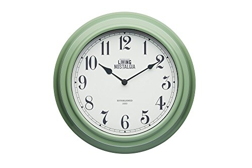 "KitchenCraft Living Nostalgia Analogue Wall Clock, 25.5 cm (10"") - English Sage Green from KitchenCraft"