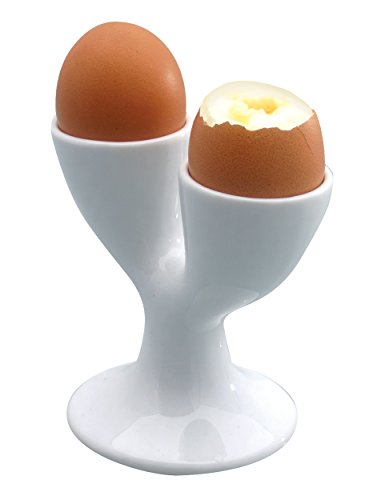 KitchenCraft Double Egg Cup, Porcelain, White, 11 x 11 cm from KitchenCraft