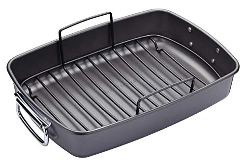 "KitchenCraft MasterClass Non-Stick Large Roasting Tin with Rack, 40 x 28 cm (15.5"" x 11"") from KitchenCraft"