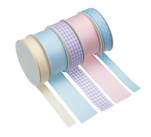 KitchenCraft Sweetly Does It Cake Ribbon, Fabric, Multi Colour, Set of 5 Pastel Ribbons for Crafts, Cakes and Gifts from KitchenCraft