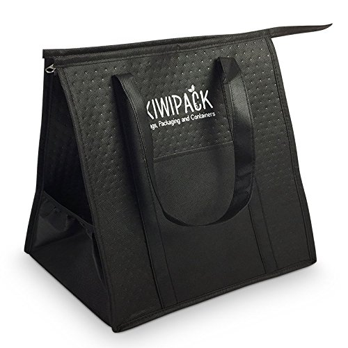 Takeaway Delivery Bag for Restaurants and Food Couriers. Also a Picnic Cooler Bag, Lunch Bag and Thermal Bag for Indian, Kebabs and Chinese Food. Durable and Compact for Easy Storage. Easy to Clean. from KiwiPack