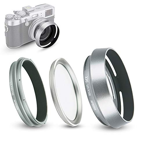 Lens Hood and Adapter Ring Fits for Fujifilm Fuji X100V, X100F, X100T, X100S, X100, X70 Replaces Fujifilm LH-X100 (with UV Filter) from JJC