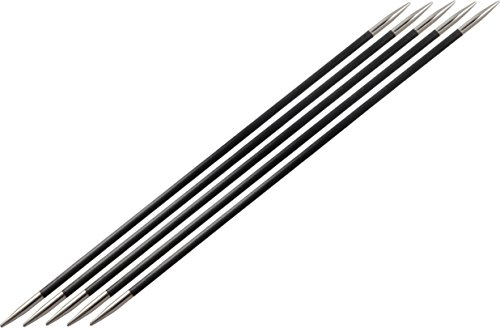 KnitPro 15 cm x 1 mm Karbonz Double Pointed Needles, Black and Silver from KnitPro