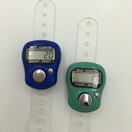 Tally Counter - LCD (Finger-Held). 2 Pack. Blue & Teal Digital Knitting Row Counters from KnitUK