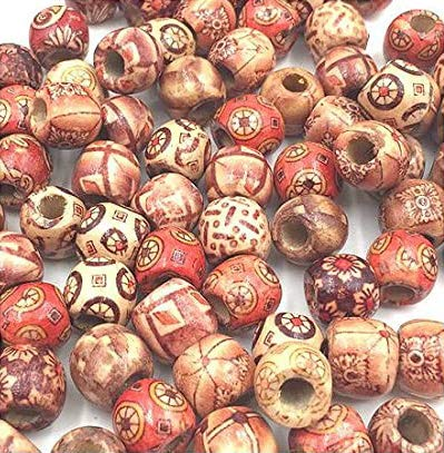 Dreadz Mixed Wooden Patterned Large Beads (Hole 7.4mm) x 5 from Knotty Boy