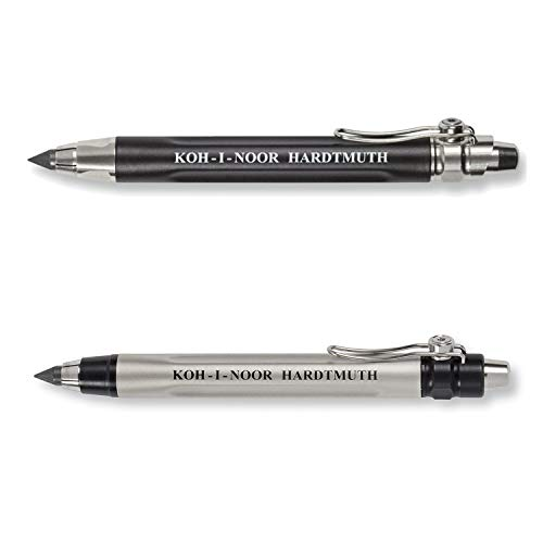 KOH-I-NOOR 5311 and 5312 - Mechanical clutch lead holder pencil, lead thickness 5.6 mm - SET of 2 - Black and Silver from Koh-I-Noor