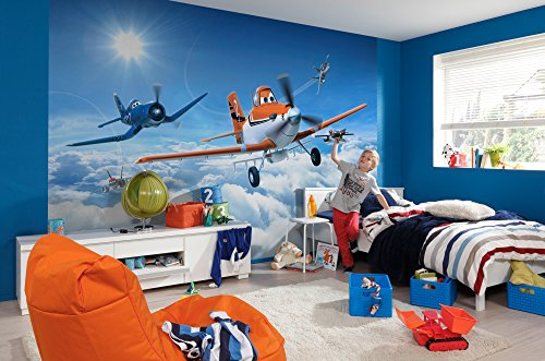 "Komar ""Disney Planes Above The Clouds Wallpaper Mural, Multi-Colour, 8-Piece from Komar"
