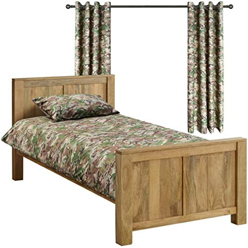 Kombat UK Kids Army BTP Camouflage Duvet and Curtain Bedroom Set, Polyester, British Terrain Pattern, Single from Kombat UK