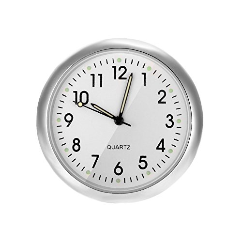 Konesky Car clock Universal Car Dashboard Clock Air Vent Motorcycle Bike Handlebar Quartz Clock Stick-On Clock with Night Display(white) from Konesky
