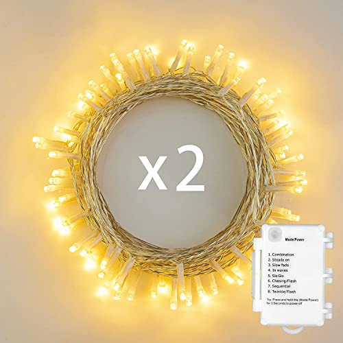 [2 Pack] Battery Operated 40 LED Fairy String Lights Christmas Xmas w/ Timer Function, IP65 Waterproof, Warm White from Koopower