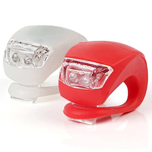 KooPower LED Bike Lights Set, 2 Pack, White & Red from Koopower