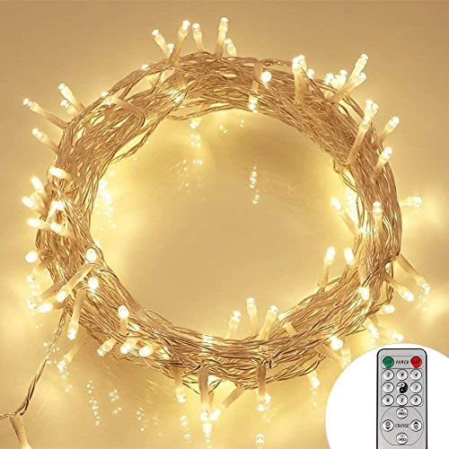 [Remote and Timer] 100 LED Outdoor Battery Fairy Lights (8 Modes, Dimmable, IP65 Waterproof, Warm White) from Koopower