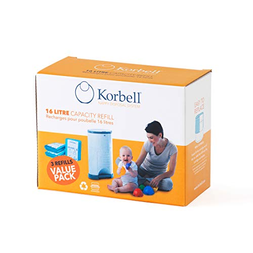 Korbell Nappy Disposal Bin Liners - Standard (16 Litre) - 3 Refills Value Pack from Korbell