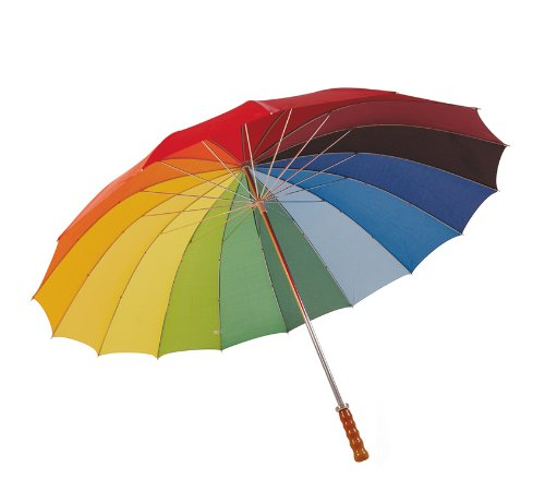 Mens Golf/Golfing Rainbow Umbrella With Wooden Handle, 75cms 170T Nylon from KS