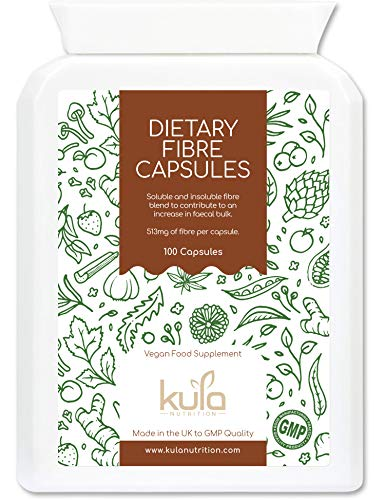 Kula Nutrition - High Fibre Supplement - 100 Capsules - Soluble and Insoluble Dietary Fibre Capsules Now with Added Psyllium Husk, Flaxseed and Sugar Beet Fibre which Supports Daily Bowel Movements. from Kula Nutrition