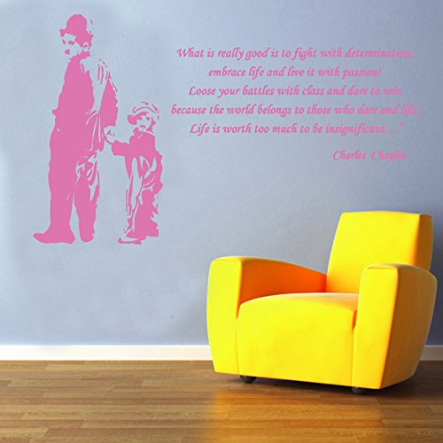 Charlie Chaplin Picture & Quote Decal Vinyl Wall Sticker from Kult Kanvas