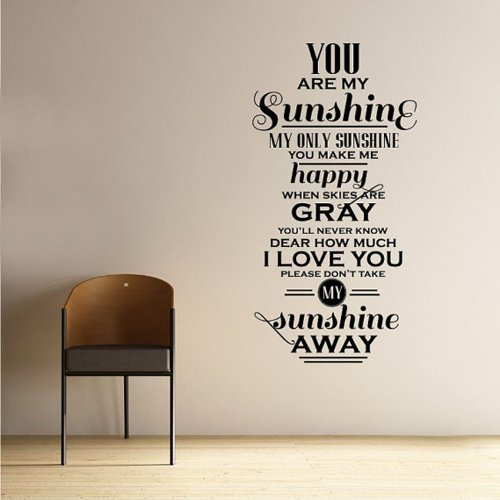 You Are My Sunshine Decal Vinyl Wall Sticker from Kult Kanvas