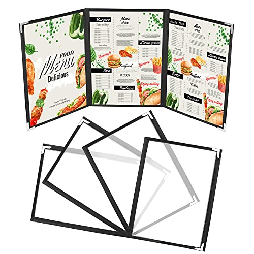 Triple Fold A4 Menu Covers - 5 Pack Double Stitched Clear Vinyl Black Binding Tri Fold American Style Menu Covers with Stainless Steel Corner Protectors for Restaurant, Bar and Cafe from Kurtzy
