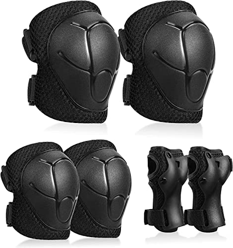 Kuyou Kids Protective Gear Set,6pcs Knee and Elbow Pads with Wrist Guards Toddler for Child Safety Rollerblading Skating Volleyball (Black) from Kuyou