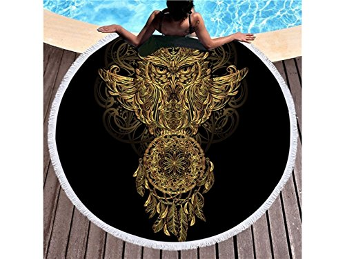 kxrzu Funny Owl Patterns Printed Round Beach Towel with Tassels Super Water Absorbent Casual Style Towel Soft Microfiber Blanket (150x150cm) from Kxrzu