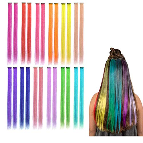 Kyerivs Colored Clip in Hair Extensions 20inch Rainbow Heat-Resistant Straight Highlight Hairpieces Cospaly Fashion Party Christmas Gift For Kids Girls 12 Color in 24 pcs from Kyerivs
