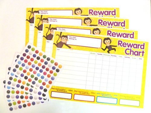 4 x Childrens Reward Charts and 250 Stickers for Rewarding Kids Good Behaviour from L-FENG-UK