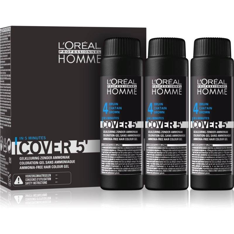 L'Oréal Professionnel Homme Cover 5' Toning Hair Color 3 pcs Shade 4 Medium Brown  3x50 ml from L'Oréal Professionnel