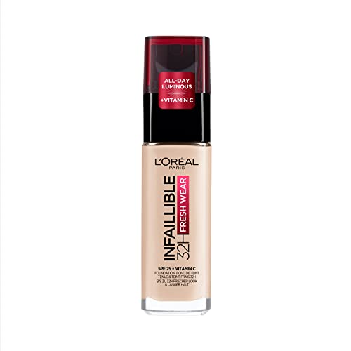 L'Oreal Paris Infallible 24hr Freshwear Liquid Foundation 15 Porcelain, Hydrating, Weightless Feel, Transfer-Proof and Waterproof, Full Coverage Base, Available in 26 Shades, SPF 25 from L'Oreal Paris